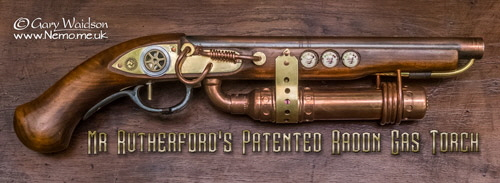 Mr Rutherford's Patented Radon Gas Torch. © Gary Waidson - www.Nemo.me.uk